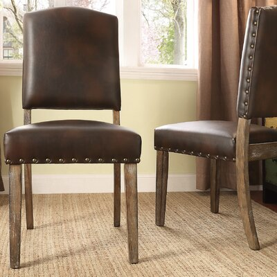 Alpena Dining Chair Upholstery Color: Bonded Leather/Brown
