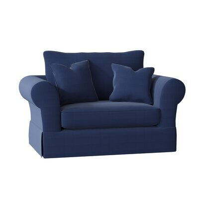 Adamsburg Armchair Upholstery: Bayou Flame, Throw Pillow Fabric: Spinnsol Navy, Piping Fabric: Spinnsol Navy