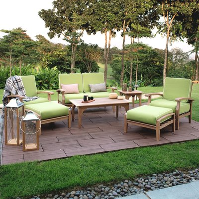 Monterey 7 Piece Teak Sofa Seating Group with Cushions
