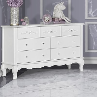Aurora 7 Drawer Dresser Color: Frost White