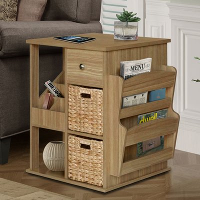 Albia End Table with Storage Color: Natural