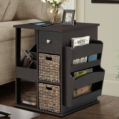 Albia End Table with Storage Color: Espresso