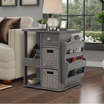 Albia End Table with Storage Color: Gray Wash