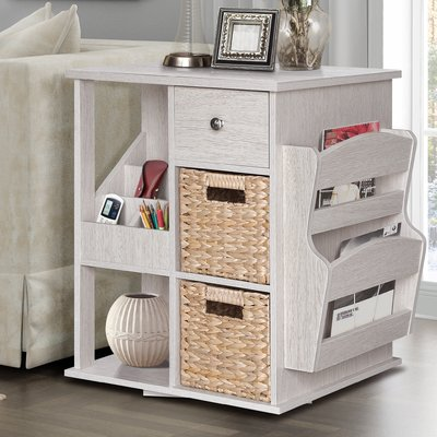 Albia End Table with Storage Color: White Wash