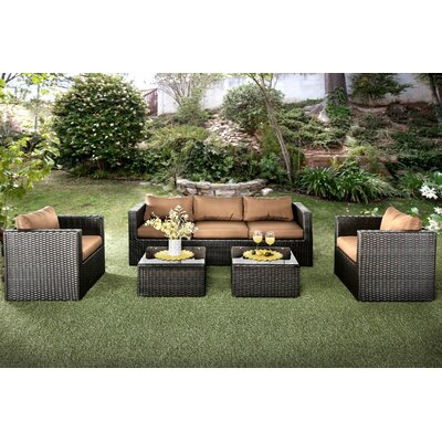 Alden 5 Piece Sofa Seating Group with Cushions Cushion Color: Brown